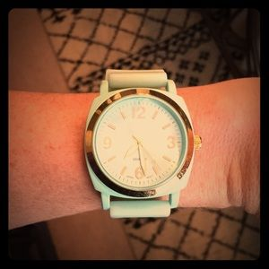 Mint green & gold jelly watch